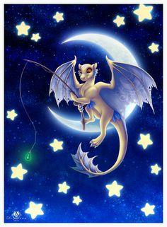 Star Fishing by DolphyDolphiana Cute Dragon Drawing, Dragon Sketch, Cat Drawing, Weird Creatures, Fantasy Creatures, Mythical Creatures, Fantasy Dragon, Fantasy Art, Bambi Art