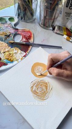 Canvas Painting Tutorials, Diy Canvas Art, Art Drawings Beautiful, Art Drawings Sketches Simple, Acrylic Painting Flowers, Acrylic Art, Watercolor Art Lessons, Watercolour, Art Painting Gallery