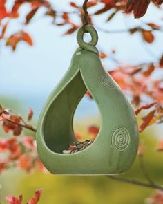 Celadon Pottery Birdfeeder - asian - outdoor decor - Gardener's Supply Company