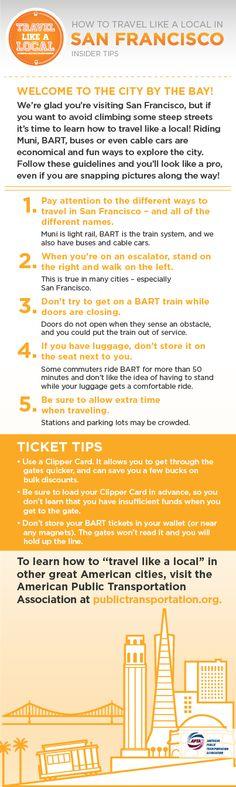 Transit tips for San Francisco, via APTA.