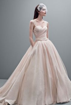 Taffeta ball gown with contrasting tulle overlay. Available in Blush/Oyster.See More White by Vera Wang Gowns, Exclusively at David's Bridal