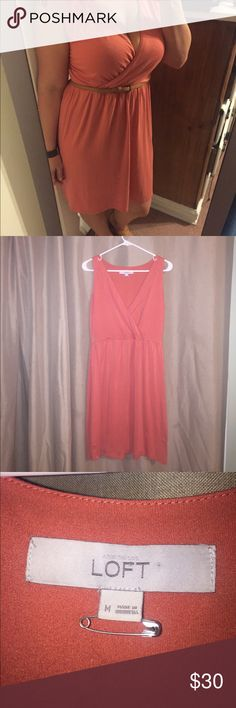 Ann Taylor Loft Coral Dress Comfy and Busty! Sexy but classy! Used condition Ann Taylor Dresses