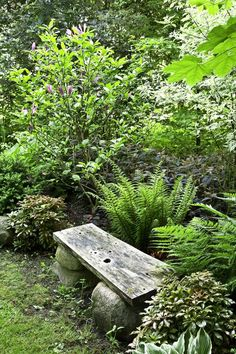 Outdoor Garden Bench, Garden Seating, Outdoor Gardens, Mediterranean Garden, Woodland Garden, Garden Landscape Design, My Secret Garden, Garden Cottage, Shade Garden