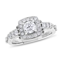 Porrati, 1/2 ctw Round-cut Diamond Semi Mounting Engagement Ring With CZ Center in 14K White Gold