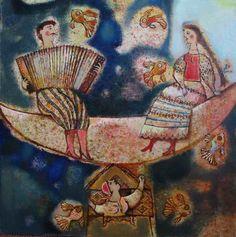 """Why Harmonica Sing"" 2006. 65х65cm. Oil on canva"