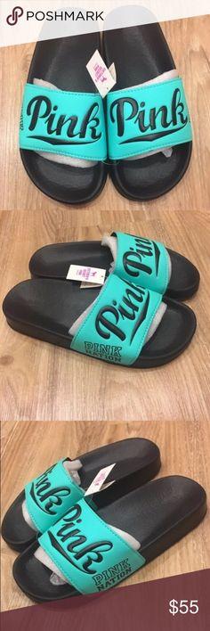 a947bbea725 Victoria s Secret pink slide sandals slippers Victoria s Secret Pink Nation Slides  Sandals shoes size small fits