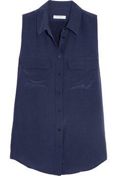 Equipment Slim Signature washed-silk top | NET-A-PORTER