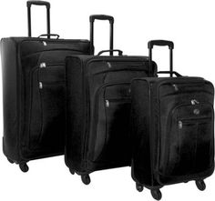 American Tourister POP 3 Piece Spinner Luggage Set Black - via eBags.com! $129, may be ideal for the trip.