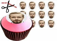12 RYAN GOSLING 38mm (1.5 Inch) PRE-CUT Cake Toppers Edible Rice Paper Cupcake Decoration 116 from Amazon