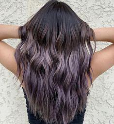 Brunette Hair Color With Highlights, Hair Color For Black Hair, Hair Highlights, Lavender Highlights, Ashy Hair, Brown Hair Balayage, Bayalage, Lavender Hair, Lilac Hair