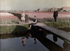 Locals relax by the tulip fields along the canal in Haarlem, The Netherlands, 1931.Photograph by Wilhelm Tobien, National Geographic Creative