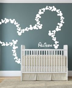 Wall Decal Art Decor Mickey Mouse Baby Name Wall by HappyWallz This would be really cool @Angie Wimberly Reay
