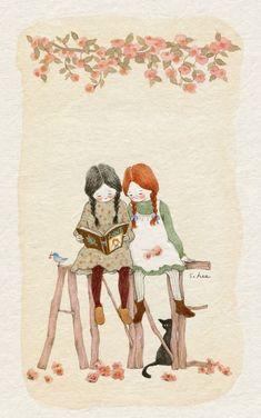 : Soloillustratori: Lee S. Art And Illustration, Anne Of Green Gables, Korean Artist, Cute Images, Whimsical Art, Anime Art Girl, Cat Art, Cute Drawings, Watercolor Art
