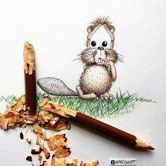 Com criatividade um lápis quebrado é arte. Que fofura! @OlhardeMahel @predart #criatividade #pencil #pencilart #lápis #OlhardeMahel #artecomlapis #lapis #criativo #drawing #desenho #imagination #imagem #instagram #fpolhares #pinterest #facebook #castor #beaver #arte #artista http://ift.tt/2defOdz