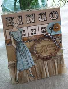 Card Paper Ribbon technique-how to. Card uses Dimestore Vogue, Bingo Craft Cards, Black Twirly Twine and Linen Tinted Tape. cards-and-tags Card Tags, Gift Tags, Paper Ribbon, Vintage Scrapbook, Library Card, Bingo Cards, Button Art, Artist Trading Cards, Tag Art