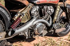 A 2015 Indian Scout customized to emulate the purpose-built nature of historic hill climb motorcycles.