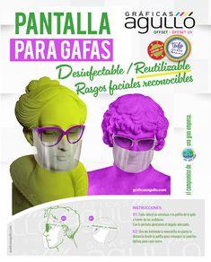 Rasgos faciales reconocidos, reutilizable, desinfectable. Sideburns, Glasses, Impressionism