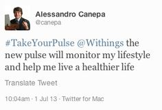 """Alessandro Canepa (twitter.com/canepa) tweeted: """" #TakeYourPulse Withings the new pulse will monitor my lifestyle and help me live a healthier life """" Learn more: http://www.withings.com/en/pulse  #Health #Fitness #DigitalHealth #mHealth #QuantifiedSelf #HeartRate #Pulse #Tracker #SelfTracking #HealthTracking #FitnessTracking"""