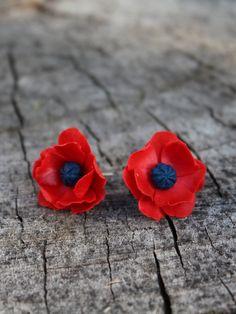 Red Poppy earrings Floral studs earrings Red by Jewelrylimanska