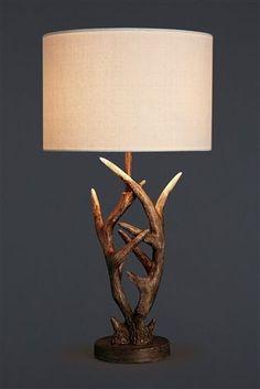 Buy Antler Natural Table Lamp from the Next UK online shop Cabin Living Room, Wildlife Bedroom, Bedside Table Lamps, Table Lamp, Table Lamps For Bedroom, Antler Lamp, Scottish Interiors, Bedside Table Uk, Lodge Bedroom Decor