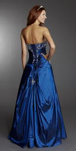 Dress name: Laura. The taffeta A line dress contains stunning beading accross the bust as well as following down the lace up back. An element of detail is also shown on the skirt at the back as well as on the hip so you can show off your sparkle.  Different colours are available.  #prom #elegant #dress #fashion #Aline #blue