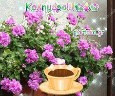 Καλημέρα! Εικόνες gif.....giortazo.gr - Giortazo.gr God Is Good Quotes, Best Quotes, Planter Pots, Content, Plants, Best Quotes Ever, Plant, Planets