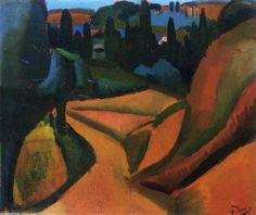 'Landschaft in der Nähe von Martigues', öl auf leinwand von André Derain (1880-1954, France)