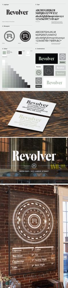 """""""identity / revolver - bar"""" I pinned this revolver design for the typography used. I feel it has been designed perfectly for a coffee shop. It has that woody organic feel that works well for this design. Corporate Design, Corporate Identity, Typography Design, Logo Design, Identity Design, Brand Identity, Wayfinding Signage, Brand Guidelines, Graphic Design Inspiration"""