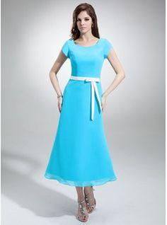 Dama de honor - $114.99 - Corte A/Princesa Escote en V Té de longitud Gasa Satén Dama de honor con Fajas  http://www.dressfirst.es/Corte-A-Princesa-Escote-En-V-Te-De-Longitud-Gasa-Saten-Dama-De-Honor-Con-Fajas-007001487-g1487