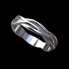 Platine 950 torsadée Anneau demi-jonc Infinity masculine