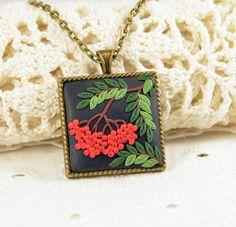 NEW  Rowan Pendant Polymer clay jewelry Romantic by PommeDeNeige