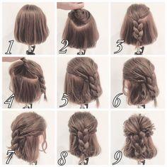 косы на средней длины волосы