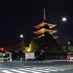 夜の東寺さん。ライトアップしてた。 #東寺 #東寺五重塔 #東寺ライトアップ2017 #京都 #kyoto #temple
