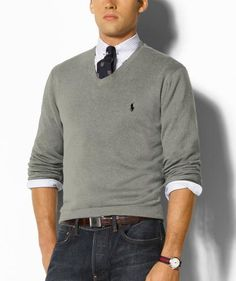 Ralph Lauren Men\'s Sweater Polo Cotton V-Neck Grey...