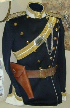 17th Lancers field kit Zulu War 1879. The 17th Lancers were sent to South Africa after the disasterous first invasion, and participated in the Battle of Ulundi. When the Zulu army faltered against the withering fire from Chelmsford's square, the 17th were ordered to charge, causing the Zulus to route. Their uniform was distinct blue with white facings. The plastron on the front could be reversed to show white.  The holster likely held a M1872 Mark III John Adams revolver.