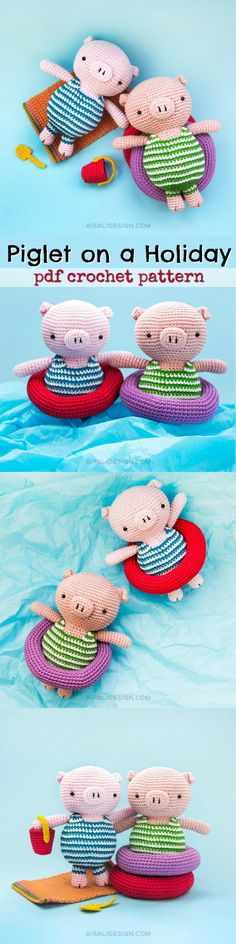 Piglet on a holiday. How cute are these amigurumi pigs in bathing suits with their floaty tubes! So fun! #etsy #ad #amigurumi #toys #dolls #stuffy