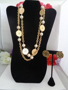 15% Coupon 4022017 Vintage Givenchy Goldtone Two Piece Jewelry Set.  This is a VERY RARE NECKLACE.  This one is 46 inches long and has the Matching Button Pierced Earrings included which I paid $69.00 for. The Set is Stunning and there is nothing more beautiful than this set. CCCsVintageJewelry.com Get in on sale.