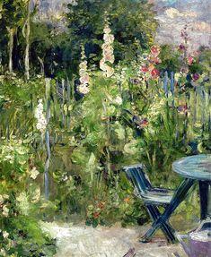 Berthe Morisot - Hollyhocks, 1884 (Musee Marmottan Monet - Paris France) at Museo Thyssen-Bornemisza Madrid Spain