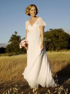 Manches courtes robe de mariée enceinte chiffon col en v [#ROBE208287] - robedumariage.info