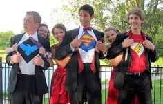 """ColumbiaTribune.com - Rock Bridge prom superheroes and their dates are, from left, Dakota """"Nightwing"""" Cooper and Rebecca Burke-Aguero, Mitchell """"Superman"""" Taylor and Emily Thomas, and Asa """"The Flash"""" Lory and Ellen Thieme."""
