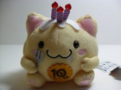 If you love cats, you'll surely love the Maruneko series. Created by the company SK Japan, These cats usually are perfectly, symmetrically round and chubby (Maru - Round) and are hoping to be cuddle buddies with you.    This Yellow Maruneko Plush sits 16 x 16 cm. This kitty loves eating birthday ...