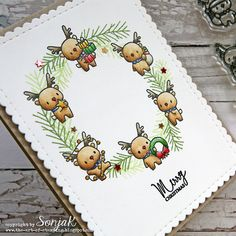 SonjaK - The art of stamping: Stempelküche-Challenge: # 108 - Kranz - Style and More - All kinds of trendy ideas Christmas Bazaar Crafts, Holiday Crafts For Kids, Diy Christmas Cards, Xmas Cards, Christmas Art, Christmas Ideas, Fun Arts And Crafts, Diy And Crafts, Mama Elephant Cards
