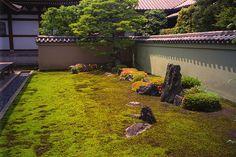 Moss and rock garden at Ryogenin - sub-temple of Daitokuji. Kyoto, Japan.