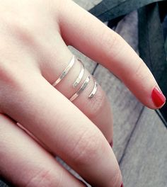 Hammered Sterling Silver Ring Stacking by CristalPassions on Etsy