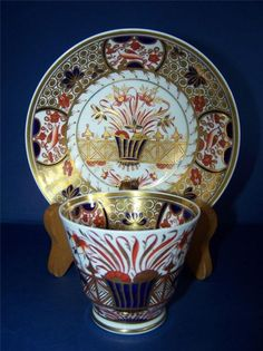 Antique Early 19th C Spode Imari 1495 Cup and Saucer C 1820
