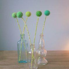 Mint green felt flower bouquet. Wool balls. Retro green. Home table decoration. Honeydew melon. by Berry Island at Etsy