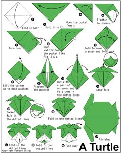 Origami Instructions | How to make origami turtle instructions. Easy and advanced origami ...