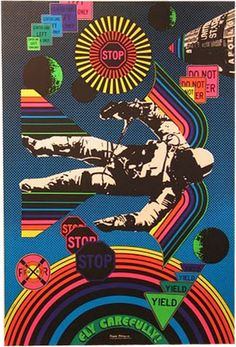 1960s Fly Carefully Psychedelic poster