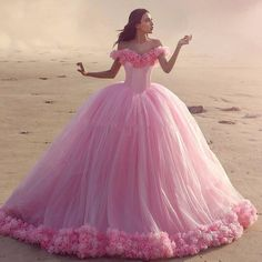 2016 Паффи Розовый Quinceanera Платья Принцесса Золушка Формальное Долго Бальное платье Партии Платья С Плеча 3D Цветы Реальные Фото