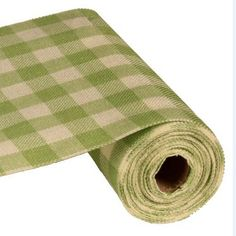 Faux Burlap Color: Spring Green and Cream 9.5 in width 10 yards in length